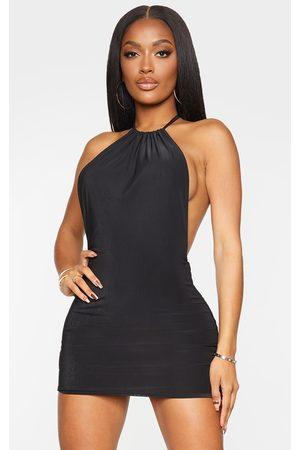 PRETTYLITTLETHING Shape Slinky High Neck Backless Bodycon Dress