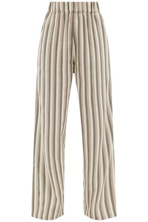 Marrakshi Life Slit-cuff Striped Cotton-canvas Wide-leg Trousers - Womens - Multi