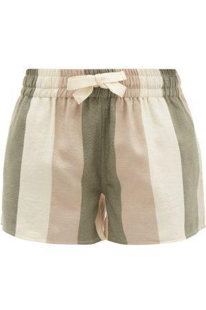 Marrakshi Life Women Swimwear - Striped Cotton-canvas Shorts - Womens - Khaki