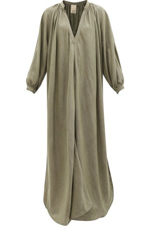Marrakshi Life V-neck Cotton-canvas Maxi Dress - Womens - Khaki