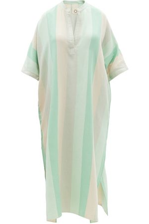 Marrakshi Life V-neck Striped Cotton Kaftan - Womens - Stripe