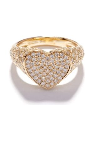 Yvonne Léon Heart Diamond & 9kt Signet Ring - Womens - Multi