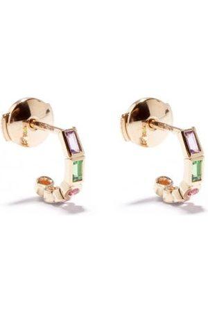 YVONNE LÉON Mismatched Sapphire & 9kt Gold Hoop Earrings - Womens - Multi