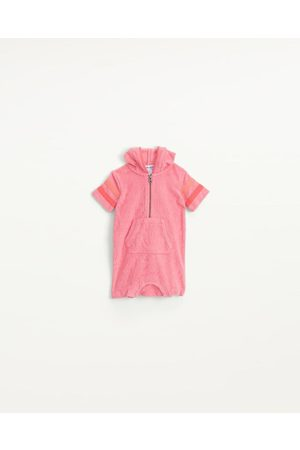 Splendid Girls Onesies - Infants Infant Girl Terry Zip-Up Onesie Rose Geranium - Size 0m-3m