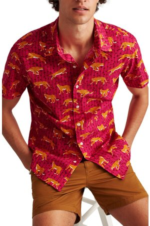 BONOBOS Men Short sleeves - Men's Rivie Slim Fit Leopard Print Short Sleeve Button-Up Shirt