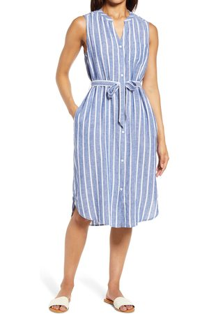 beachlunchlounge Women's Sydney Stripe Belted Linen & Cotton Shirtdress