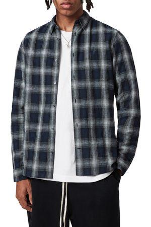 AllSaints Men's Denby Slim Fit Plaid Cotton & Linen Button-Up Shirt