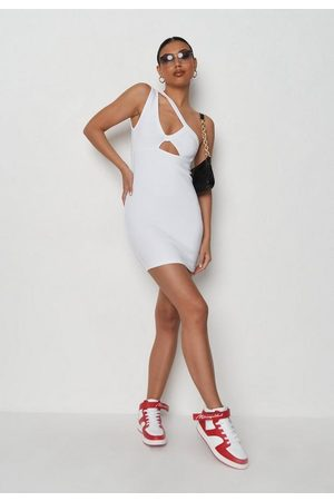 Missguided Women Asymmetrical Dresses - Petite Rib Asymmetric Cut Out Mini Dress