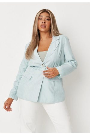Missguided Plus Size Stripe Linen Look Belted Tailored Blazer