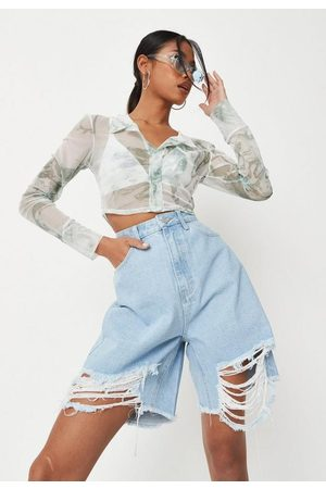 Missguided Women Shorts - Tall Ripped Longline Denim Shorts