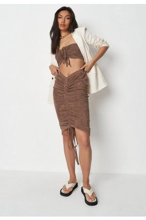 Missguided Women Midi Skirts - Petite Chocolate Co Ord Ruched Front Towelling Midi Skirt