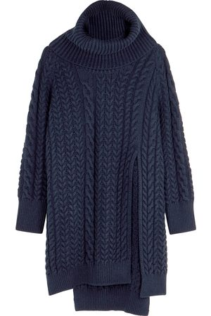 Stella McCartney Women Turtlenecks - Navy roll-neck cable-knit jumper
