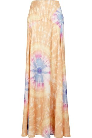 Paco rabanne Women Maxi Skirts - Tie-dyed satin maxi skirt
