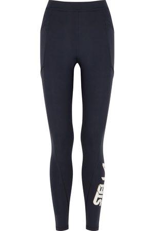 Stella McCartney Navy logo stretch-neoprene leggings