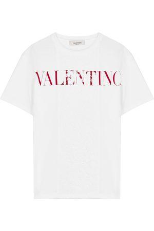 Valentino Women T-shirts - Logo-print lace and cotton T-shirt