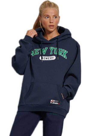 Superdry City College Oversized Hoodie M-L Richest Navy