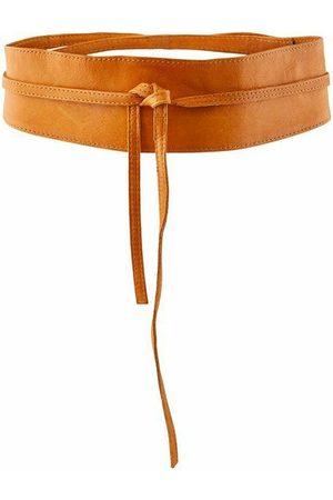 Pieces Vibs Leather Tie Waist 70 cm Cognac