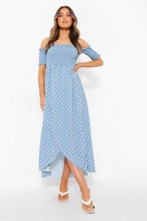 Boohoo Womens Polka Dot Shirred Off The Shoulder Maxi Dress - - 4