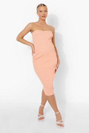 Boohoo Womens Maternity Bandeau Premium Rib Midi Dress - - 6