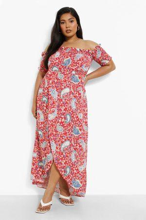 Boohoo Womens Plus Paisley Print Off Shoulder Maxi Dress - - 12