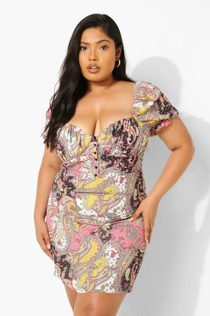 Boohoo Womens Plus Paisley Puff Sleeve Button Front Dress - - 12