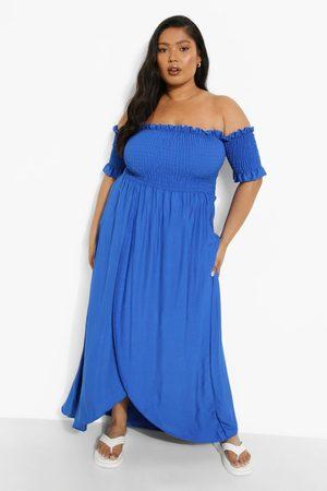 Boohoo Women Strapless Dresses - Womens Plus Off The Shoulder Shirred Wrap Maxi Dress - - 12