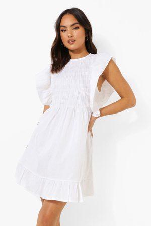 Boohoo Womens Smocked Ruffle Cotton Smock Dress - - 4