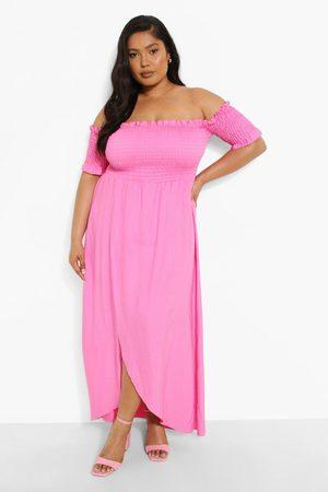 Boohoo Womens Plus Off The Shoulder Shirred Wrap Maxi Dress - - 12