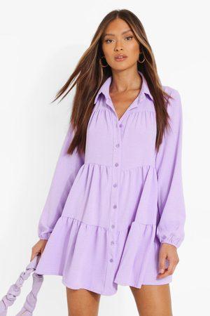 Boohoo Womens Tiered Smock Shirt Dress - - 8