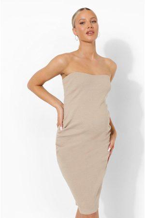 Boohoo Womens Maternity Bandeau Premium Rib Midi Dress - - 4