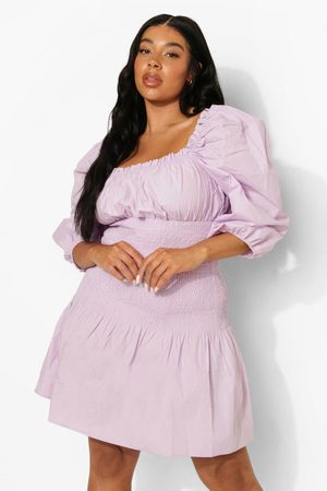 Boohoo Womens Plus Cotton Shirred Drop Waist Dress - - 12