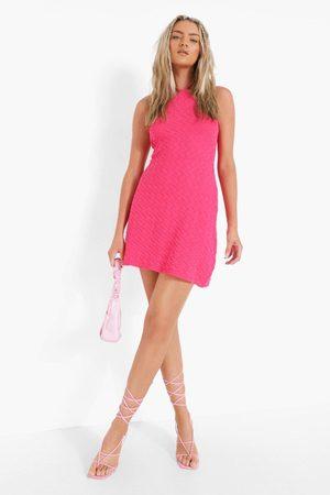 Boohoo Womens Halterneck Knitted Swing Dress - - S