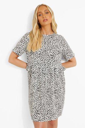 Boohoo Womens Dalmatian Ruffle Smock Dress - - 4