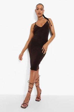 Boohoo Womens Slinky Strappy Plunge Bodycon Midi Dress - - 4