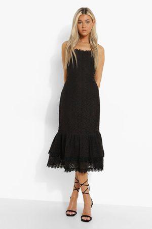 Boohoo Womens Tall Crochet Lace Bodycon Midi Dress - - 2