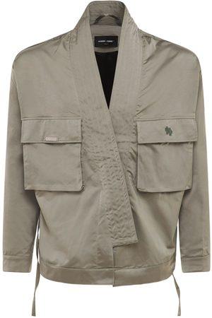 HOMME + FEMME LA Men Jackets - Satin Kimono Jacket W/ Front Pockets