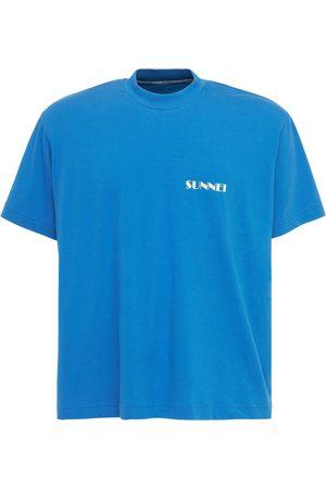 SUNNEI Men Sweatshirts - Logo Print Cotton Crewneck T-shirt