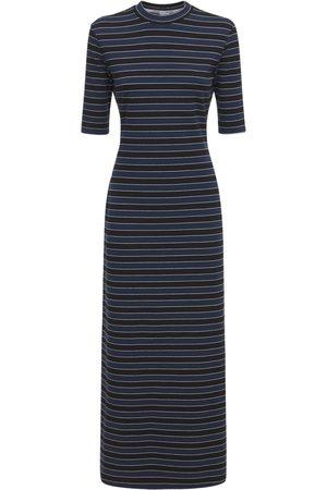 SUNNEI Women Casual Dresses - Striped Cotton Blend Jersey Midi Dress
