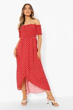 Boohoo Womens Polka Dot Shirred Off The Shoulder Maxi Dress - 4