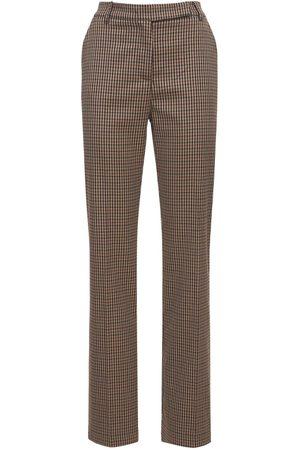 HEBE STUDIO Women Straight Leg Pants - Lover Check Straight Viscose Blend Pants