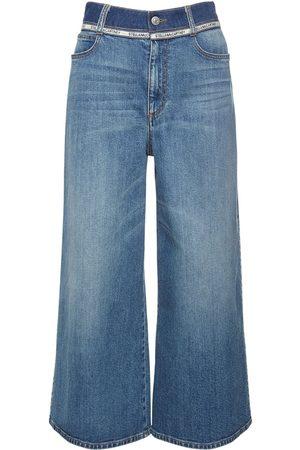 STELLA MCCARTNEY Cotton Denim Wide Leg Cropped Jeans
