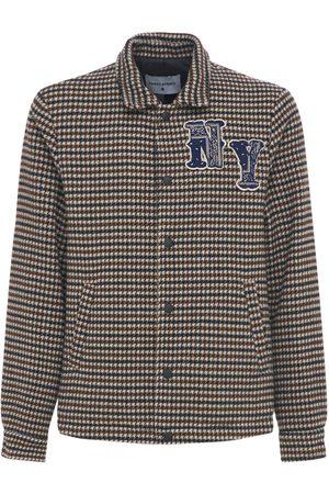 FRONT STREET 8 Houndstooth Wool Blend Shirt Jacket