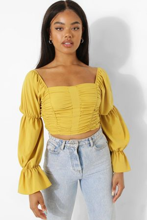 Boohoo Womens Volume Sleeve Ruched Front Top - - 2