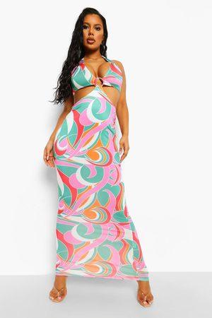 Boohoo Womens Printed O-Ring Cut Out Beach Maxi Dress - - S