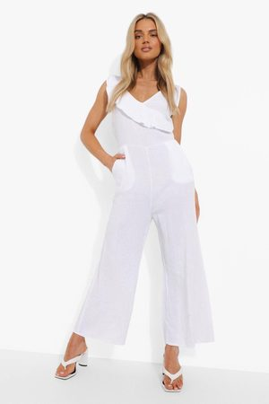 Boohoo Womens Textured Cotton Frill Culotte Jumpsuit - - 4