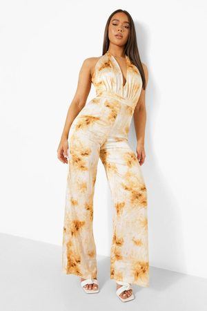 Boohoo Womens Tie Dye Halterneck Plunge Wide Leg Jumpsuit - - 4