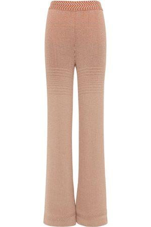MISSONI Women Straight Leg Pants - Wool Blend Knit Rib Straight Leg Pants