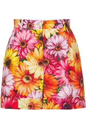Dolce & Gabbana Printed Cotton Poplin High Waist Shorts