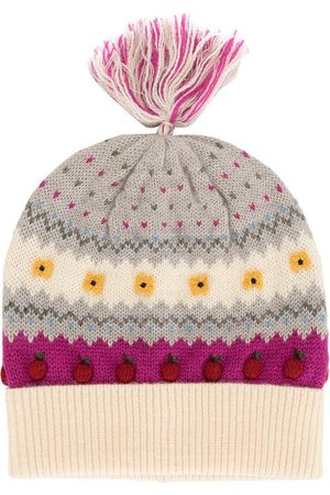 Familiar Girls Beanies - Intarsia apple motif beanie hat - Grey