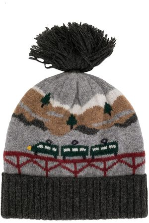 Familiar Intarsia knit beanie hat - Grey